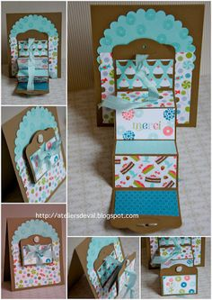 "Looks like Great fun making this ""step"" card.  The link is in French and doesn't actually have a tutorial. If anyone knows how to make it, please comment!!"