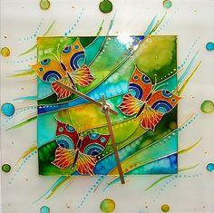 Hodiny s motýlky-malba na skle