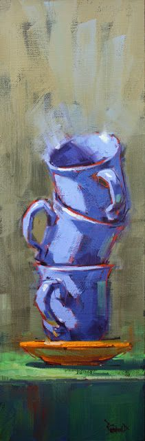 Cathleen Rehfeld, oil on archival panel, Daily Painting: 3 Periwinkle Cups Still Life Art, Art Moderne, Pics Art, Art Plastique, Love Art, Painting Inspiration, Art Lessons, Painting & Drawing, Amazing Art