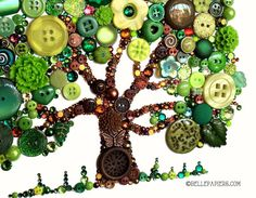 8x10 Button Art Oak Tree of Life Fall Tree Button by BellePapiers