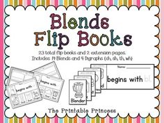 A fun, new way to teach blends and digraphs!  23 flip books to teach beginning blends and digraphs! Blends include: bl, br, cl, cr, dr, fl, fr, gl, gr, pl, pr, sk, sl, sm, sn, sp, st, sw, tr. Digraphs include: ch, sh, th, wh.