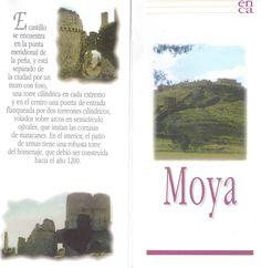 Folleto turístico de Moya, Cuenca, con lugares de interés y plano de la fortaleza. Patronato de Desarrollo Provincial de Cuenca, 1997. #Cuenca #Moya #Turismo