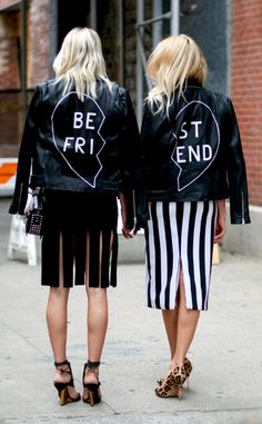 Filed under: NEED! Shea Marie and Caroline Vreeland wear coordinating leather jackets.