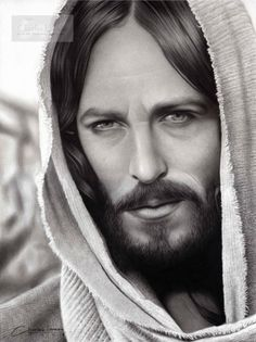 Jesus Christ by charlesdesenhos on DeviantArt Jesus Tattoo, Jesus Face, God Jesus, Christus Tattoo, Jesus Smiling, Kopf Tattoo, Jesus Drawings, Sainte Therese, Pictures Of Christ