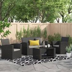Brayden Studio® Honn 4 Piece Sofa Seating Group with Cushions & Reviews | Wayfair Rattan Sofa, Wicker, Outdoor Spaces, Outdoor Decor, Outdoor Life, Sofa Seats, Patio Seating, Decoration, Outdoor Furniture Sets
