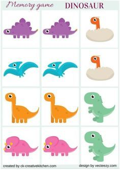 This matching memory game contains colorful and lovely Dinosaurs artwork, specially designed for toddlers. Here You will find cards for memory to print for mak Dinosaur Theme Preschool, Dinosaur Games, Dinosaur Activities, Dinosaur Crafts, Free Preschool, Dinosaur Party, Dinosaur Birthday, Toddler Activities, Preschool Activities
