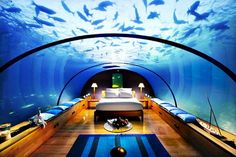 Sleep underwater Maldives — Doesn't this look cool? An underwater bedroom at the Hilton resort in the Maldives. Hotel Subaquático, Hotel Restaurant, Hotel Suites, Restaurant Offers, Ice Hotel, Hotel Decor, Hotel Stay, Glass Restaurant, Hotel Food