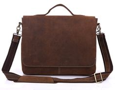 Handcrafted Leather Briefcase / Messenger / Laptop / Men's Bag in Brown(7108R-1)