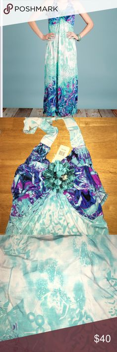 Turquoise & blue halter maxi Flower accent in the middle of chest. Ties around neck. Gorgeous summer blues and purples. Size small. NWT julia fashion Dresses Maxi