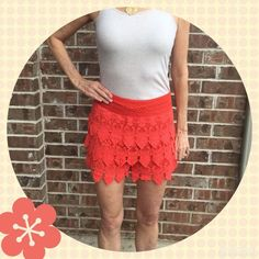 Crochet Lace Shorts HPx2 Crochet lace tiered shorts in great condition.  I would say these are a coral orange color.   Fully lined.  100% cotton.  Hand wash cold or dry cleaning recommended.  Size large but I am a small to medium and they fit me.  Waistband across measures 13 1/4 inches.  From top of waistband, approximately 14 to 14 1/2 inches long in front.  Nice for summer!Total Trendsetter Party Host Pick 3-13-16 chosen by Julia @ iqclothessavvy and Top Trends Party Host Pick 4-1-16…