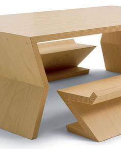 PadStyle | Interior Design Blog | Modern Furniture | Home Decor » ziggy and zaggy and designed by Frank Neulichedl, the collection features beech furniture with acutely angled lines throughout.