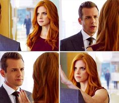 Loved this scene, they look like mother and son it was so adorable. Donna Paulsen and Harvey Specter. (gifset originally by georginahaig on tumblr)
