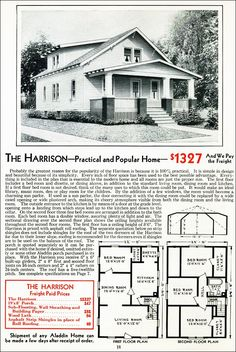 The Harrison Kit House Floor Plan made by the Aladdin Company in Bay City Michigan in 1931 Vintage