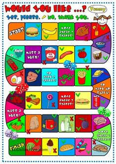 A boardgame to practise ´Would you like a/some ...?´ + food. Hope you can use it with your students. Have a nice week, mada :)  - ESL worksheets