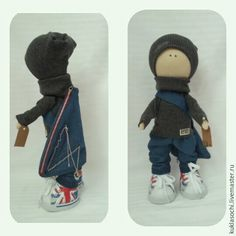 Купить Большеножка путешественник - синий, большеножка, текстильная кукла, кукла мальчик, интерьерная кукла