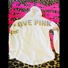 HTF Ombré Gold Varsity Hoodie Size XSMALL. Bought off here and never wore. I think only one sequence is missing that I can see, can't tell when worn! Oversized so can fit up to a medium! ❌no trades ❌price is firm PINK Victoria's Secret Jackets & Coats