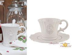 Clayre & eef Tazzina caffè con piattino ROYAL in ceramica Shabby chic