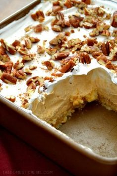 This Pumpkin Pie Lush Dessert is such a fantastic no-bake treat! Layers of pecan shortbread cookies, fluffy pumpkin pudding, creamy whipped topping and crunchy pecans complete this fabulous fall treat (Fall Bake Treats) Pumpkin Pecan Pie, Pumpkin Pudding, Baked Pumpkin, Pumpkin Dessert, Pumpkin Recipes, Fall Recipes, Pumpkin Spice, Pumpkin Cheesecake, No Bake Pumpkin Pie