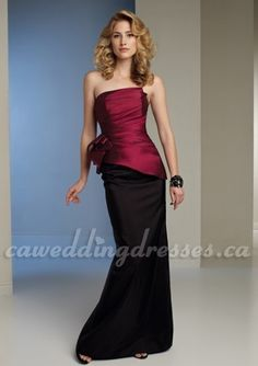 Red and Black Bridesmaid Dress with Side Ruffles