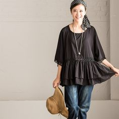 Lovely Black Lace Loose T-shirt C7189A