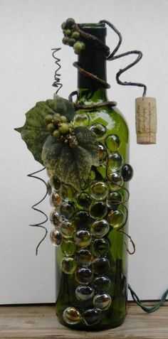 wine bottle lights   Decorative Embellished Wine Bottle Light with Glass Gems and leaves by InLovewithHim