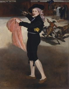 "Édouard Manet (French, 1832–1883). Mademoiselle V. . . in the Costume of an Espada, 1862. The Metropolitan Museum of Art, New York. H. O. Havemeyer Collection, Bequest of Mrs. H. O. Havemeyer, 1929 ( 29.100.53) | ""Manet loves Spain and his favorite master seems to be Goya, whose vivid and contrasting hues, whose free and fiery touch, he imitates."" As many observed, Manet reproduced a scene from Goya's Tauromaquia as the backdrop for this picture. #OneMetManyWorlds"