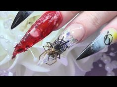 HALLOWEEN CONGEALED BLOOD AQUARIUM NAILS with real spider uñas de Halloween   ABSOLUTE NAILS - YouTube