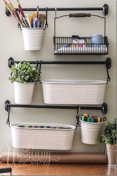 Craft room/ scrapbook room/ supplies organization using the IKEA Fintorp series of buckets, hooks, etc. Office Crafts, Craft Room Office, Wall Storage, Office Hacks, Craft Room Organization, Home Diy, Room Organization, Creative Organization, Sewing Rooms