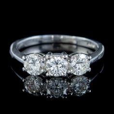 VINTAGE DIAMOND TRILOGY ENGAGEMENT RING PLATINUM 1.45CT DIAMOND CIRCA 1960 front Trilogy Engagement Ring, Perfect Engagement Ring, Antique Engagement Rings, Antique Diamond Rings, Vintage Diamond, Antique Jewelry, Vintage Jewelry, I Love Jewelry, Diamond Cuts