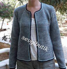 SEVGİ BUTİK: Chanel Modeli Hırka Knitting Stitches, Baby Knitting, Knit Jacket, Vest, Boutique, Chanel Model, Pullover, Elie Saab, Facon