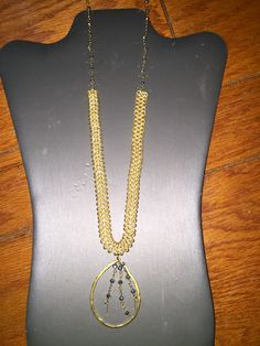 Amina Necklace - Beautiful Montana blue stones with a multi linked necklace accented with a vermeil shape - $82.00