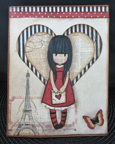 """Another card I made using the """"I Gave You My Heart"""" Gorjuss Girls rubber stamp set. I paper pieced her as well. Pop Up Cards, Cute Cards, Diy Cards, Homemade Birthday Cards, Homemade Cards, Santoro London, Paris Girl, Copics, Card Tags"""