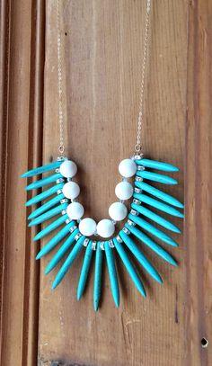 Turquoise Spike Layered Strand Necklace Gemstone by JewelrybyRJ