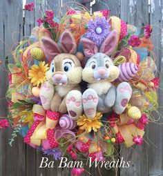 Easter Wreath Thumper Wreath Bunny Wreath Thumper by BaBamWreaths
