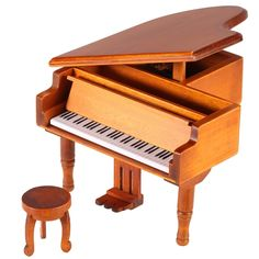 Windup Wooden Piano Musical Box Classical Melody Music Box Castle in the Sky Melody Gift for Children Girls
