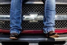 Chevy truck and western boots and wranglers...
