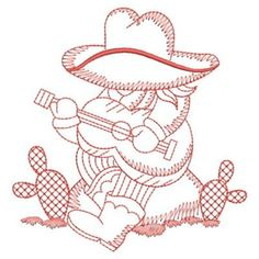 Sweet Heirloom Embroidery Design: Redwork Sunbonnet Cowboy 3.80 inches H x 3.66 inches W