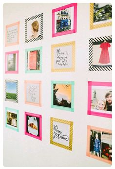 """Make Kid-Friendly """"Frames"""" with Washi Tape """"Frames"""" to Frequently Update with a Collection of Favorite Pictures... No Holes in the Wall & No Glass to Break!"""
