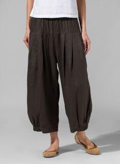 Linen Crumple Effect Harem Pants Dark Olive