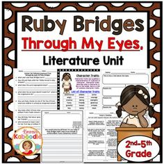 This Ruby Bridges literature unit for Through My Eyes, is created for 2nd-5th grade.  Ruby Bridges wrote Through My Eyes, so you can use this literature unit for a variety of topics (see below), as it is perfect for a study on autobiographies, black history, nonfiction resources, and social studies.Included in this book companion for Through My Eyes: Ruby Bridges: KWL chart, literature genre review, 5 pages of Ruby Bridges comprehension questions, writing a friendly letter, $4.50