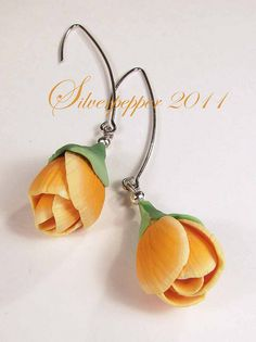 polymer clay flower earrings  #polymer #clay