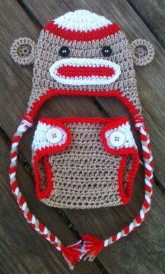 Newborn Crochet Sock MONKEY n Matching DIAPER COVER by shayahjane, $25.00