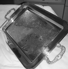 "Leonard Silver Plate 4 Footed, 2 Handle Ornate Serving Tray, 13 1/2"" long! #LeonardSilverCompany"