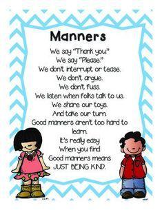 Positive Behavior Student Note Cards & Manners Poem