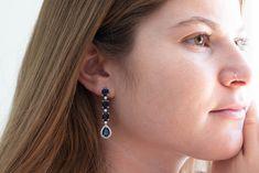 50 OFF - Carat Sapphire Drop Earrings with Carat Diamonds - Handmade Jewelry Sapphire Stone, Sapphire Diamond, Blue Sapphire, Halo Diamond, Dainty Jewelry, Gemstone Jewelry, Fine Jewelry, Handmade Jewelry, Earrings Handmade