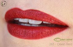 Couleur Caramel lipstick in Deep Red. The perfect red for evenings and events. Long lasting, bold pigments, natural and organic ingredients.