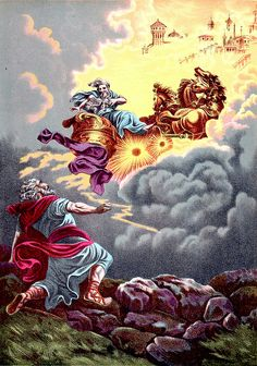 Elijah goes to heaven in a Whirlwind