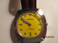 VINTAGE MEN'S BENRUS 17 JEWEL MECHANICAL-HAND WIND CASUAL WATCH,SS BACK.,SWISS #Benrus #Casual