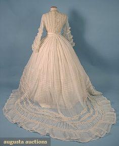 ORGANDY WEDDING DRESS, c. 1860