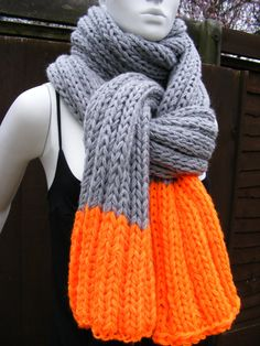 grey knit  scarves orange and grey men's by HandmadeBySusannah, $120.00